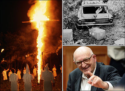 MISSISSIPPI BURNING. This week, Edgar Ray Killen (bottom right) was convicted of manslaughter in the 41-year-old killing of civil rights workers Andrew Goodman, James Chaney, and Michael Schwerner in Neshoba County, Mississippi. Top right, the burned station wagon of the three victims, which was discovered buried in a swamp 44 days after their disappearance.