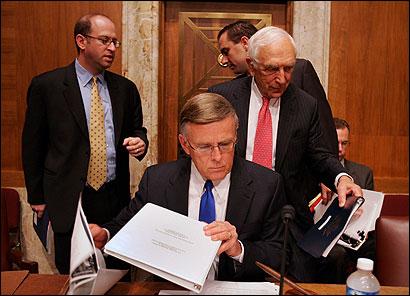 Senator Byron Dorgan and Senator Frank Lautenberg arrived for a hearing yesterday on billing by Halliburton.