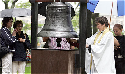 The Rev. Canon Anne Mallonee rang the Bell of Hope yesterday at St. Paul's Chapel, near ground zero, after a prayer service dedicated to victims of Thursday's London terrorist bombings.