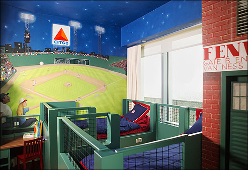 Manny Jr. has his own Green Monster seating in specially designed twin beds that give him a prime view of a night game at Fenway Park.
