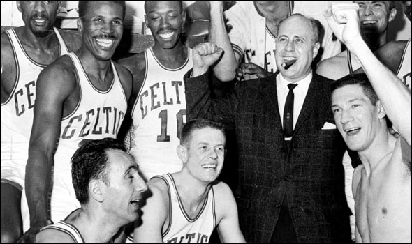 Red and the Celtics celebrated winning the Eastern Division in 1963 en route to a fifth straight NBA title.