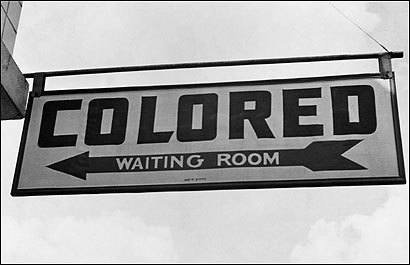 JIM CROW COUNTRY. A sign at a Greyhound bus station in Rome, Ga., in 1943. (Photo / ©Corbis)