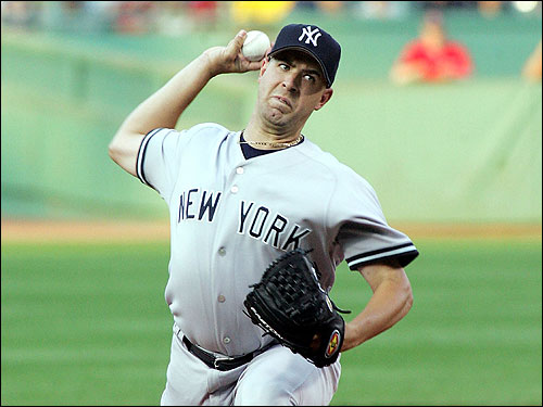 Former Padres pitcher Tim Redding made his first start for the New York Yankees last night at Fenway Park.