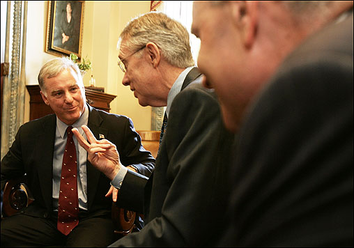 In June, Dean met on Capitol Hill with Democratic senators Harry Reid of Nevada (middle) and Chuck Schumer of New York, shortly after Dean was criticized for calling the Republicans ''pretty much a white, Christian party.''