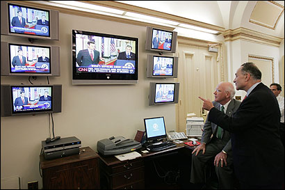 Senators Patrick J. Leahy of Vermont and Charles E. Schumer of New York watched yesterday as the announcement was made.