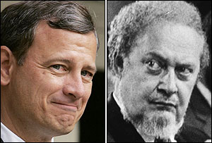 Two extremes, Robert Bork, as right, was cast as the very image of judicial extremism during his failed 1987 confirmation hearings. John G. Roberts Jr. is unlikely to suffer the same fate.