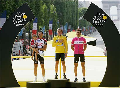 Lance Armstrong stands between Ivan Basso of Italy and Jan Ullrich of Germany on the podium after the final stage of the Tour de France.