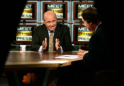 Bush administration point man Fred D. Thompson (center) discussed nominee John G. Roberts Jr. with Tim Russert.