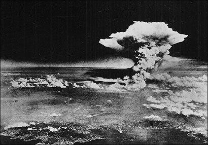 In this picture released by the US Army, a mushroom cloud billowed, about one hour after the atomic bomb was detonated above Hiroshima, Japan, on Aug. 6, 1945. About 140,000 are believed to have died in the blast.