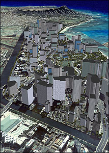 SIM ISLAND. This 3-D image of Honolulu was created using GIS software from the company ERSI, as part of Honolulu's six-year planning initiative.