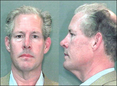 E. Forbes Smiley III (above in his booking photos) is to appear in a New Haven courtroom today on larceny charges.
