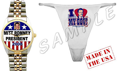A red-white-and-blue wristwatch with Governor Mitt Romney's image on its face (left), and a $9.99 thong emblazoned with his portrait from cafepress.com .