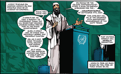 PROPAGANDA OR SATIRE? In ''Liberality for All'' (above), a comic book series due out in October, conservative radio pundits Sean Hannity, G. Gordon Liddy, and Oliver North battle Osama bin Laden and his liberal allies in the year 2021. ((C) 2005 accstudios.com )