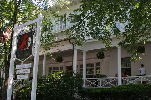 The historic Red Lion Inn has been open since 1773, and features a broad front porch, complete with rocking chairs. The inn also has smaller balconies and porches on the side and the back. <a href='http://www.redlioninn.com/'>The Red Lion Inn
