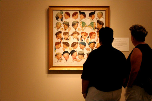 Rockwell included his neighbors, his wife, and himself in this 1948 piece called 'The Gossips.' This is called a sequence painting because it reads from left to right in the manner of a comic strip.