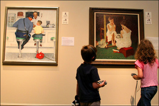 'The Runaway' (far left) was inspired by Rockwell's own childhood experience of running away from home. Rockwell spent time exploring small town diners as an adult, and would often set up his models to form just the right scene.