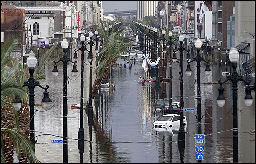 Canal Street was flooded a day after Hurricane Katrina blew through New Orleans.