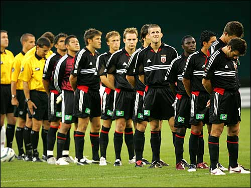 Players and referees observed a moment of silence in honor of Hurricane Katrina victims prior to a pro soccer game between DC United and Real Salt Lake in Washington, D.C., Wednesday night.
