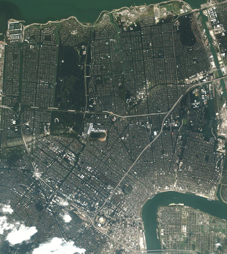 An overview of New Orleans after Katrina. Image collected August 31, 2005.
