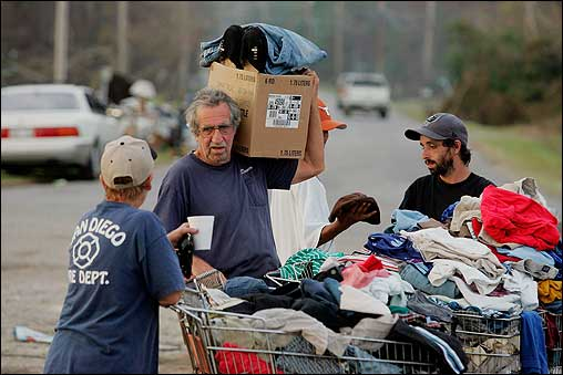 People in Waveland, Miss., gathered donated clothes as they tried to replace what was lost when their homes were destroyed by Hurricane Katrina.