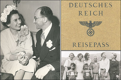 From a family album (clockwise from left): The author's parents on their wedding day in 1947 and his fathers passport; Austrian relatives.