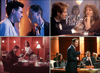 Less Than Zero (top left) photograph by John Clifford/Twentieth Century-Fox; White Palace (top right) photograph courtesy of the Everett Collection; Secretary (bottom left) photograph by Bruce Birmelin/Lions Gate Films; Boston Legal photograph by Carin Baer/ABC Television