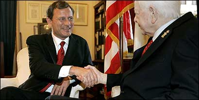 John G. Roberts Jr. (left), President Bush's court nominee, met with Senator Robert C. Byrd of West Virginia in Washington.