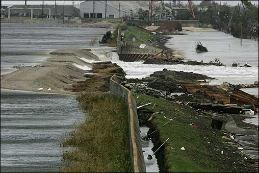 Hurricane Rita churned along the Gulf Coast Friday, dousing New Orleans and heading for Texas and Louisiana. Water flowed through a breach in the repaired Inner Harbor Canal towards the Ninth Ward in New Orleans.