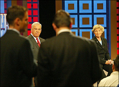 Mayor Thomas M. Menino and his challenger, Councilor at Large Maura A. Hennigan, listened to a question from an audience member during the debate last night. The stakes were high for both candidates.