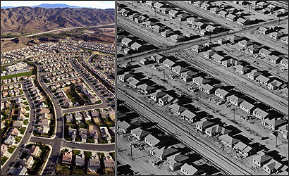 NEW SPRAWL. A development in Riverside County (left), part of Southern California's Inland Empire, shown in 2002. OLD SPRAWL. In 1950, the Lakewood Building Project in Los Angeles County (right) was called the largest planned housing development in history. A community of 17,150 homes, it would include parks, playgrounds, schools, churches and a major shopping center with everything from supermarkets to department stores.