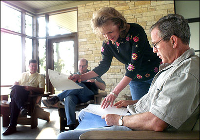 President Bush got data in 2001 from Harriet Miers, at his ranch in Crawford, Texas. Miers, once Bush's personal lawyer, followed him from Texas to Washington.