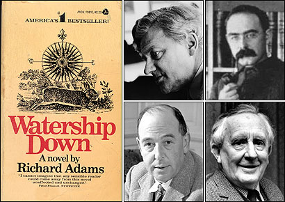 FANTASTIC FOUR. Clockwise from top left: English writers Richard Adams, Rudyard Kipling, J.R.R. Tolkien, and C.S. Lewis introduced dark themes, drawn from their own experiences, into their wildly popular fantasy novels. At far left, 'Watership Down' by Richard Adams.