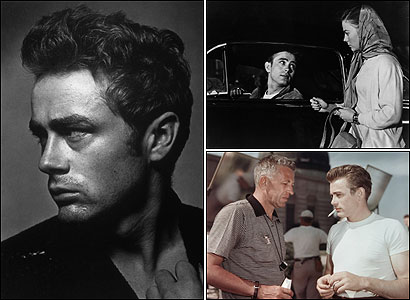 Top right: James Dean and Natalie Wood in 'Rebel Without a Cause.' Bottom right: Nicholas Ray and Dean on the set of 'Rebel' in 1955.