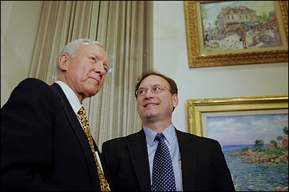 Senator Orrin G. Hatch (left), a Utah Republican who serves on the Judiciary Committee, met yesterday with Samuel A. Alito Jr.