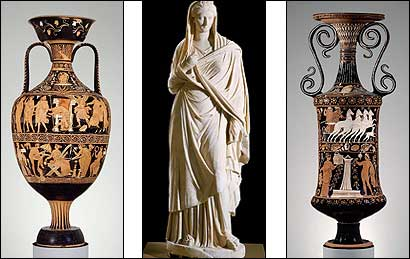 From left, a two-handled jar depicting the murder of Atreus, a portrait statue of Sabina, and a vase for bath water. Photographs of these were seized in raids.