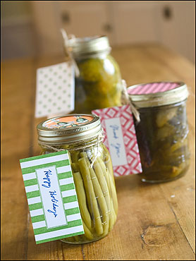 Herbed and pickled beans, bread and butter pickles, and fermented dill pickles.