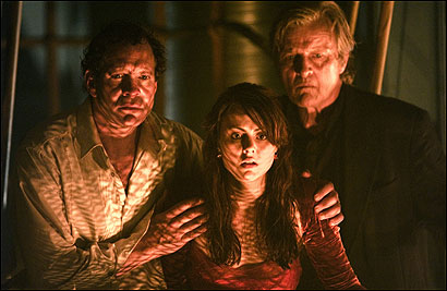 From left: Steve Guttenberg, Amber Sainsbury, and Rutger Hauer star in the remake of the 1972 film.