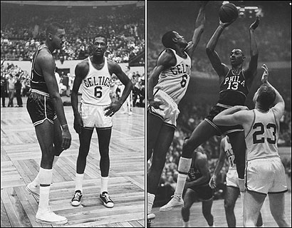 Wilt Chamberlain (far left) had at least 3 inches on No. 6 Bill Russell, and that concerned the Celtics center before he and the rookie first squared off at the Boston Garden almost 50 years ago. On November 7, 1959, almost 14,000 basketball fans filled the Garden to watch what was dubbed the 'Battle of the Titans' (right).