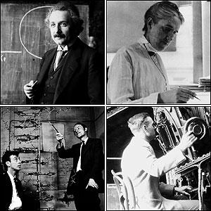 Clockwise from top left: Albert Einstein, Henrietta Leavitt, Edwin Hubble, and James D. Watson and Francis H. C. Crick.
