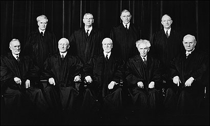 Addressed to the nine. The Supreme Court in 1937, the year Franklin Roosevelt threatened to pack the court. When Justice Owen Roberts (rear, second from right), an ally of the court's conservatives, voted to uphold a minimum-wage law, it was called 'the switch in time that saved nine.'