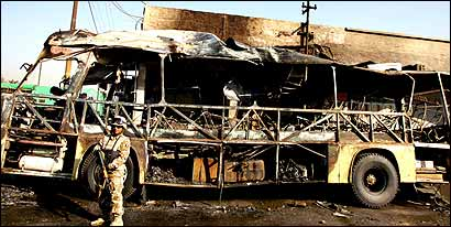 A man detonated explosives inside a packed bus in Baghdad yesterday, bringing the three-day death toll from suicide attacks in the capital to at least 75. Meantime, an unconfirmed statement said an American hostage has been killed.