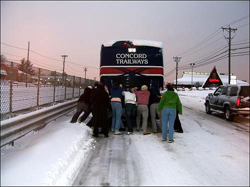 Eric Kyller snapped this shot as people pushed a bus on Route 1 near the Kowloon restaurant.