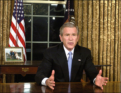 In his speech yesterday, President Bush had harsh words for those who want to withdraw troops quickly. ''To retreat before victory would be an act of recklessness and dishonor.''