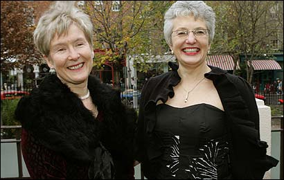 Ann Louise Gilligan (left), and Katherine Zappone at a recent fund-raiser at a Dublin restaurant for the couple's legal case.