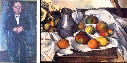 ''Portrait d'un Jeune Homme'' (left) by Chaim Soutine was one of the paintings stolen in May 1978 from the Stockbridge home of Michael Bakwin. Paul Cezanne's ''Bouteille et Fruits'' (right) was stolen but later returned to Bakwin in a deal.