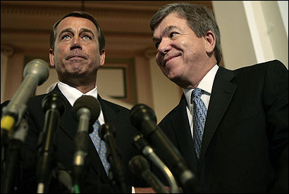 House Majority Leader John A. Boehner (left) and his predecessor, Majority Whip Roy Blunt, after yesterday's vote.
