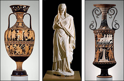 Among the items Italians will be asking the MFA to return are a bath water vase, a statue of Sabina, and a two-handled jar.