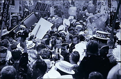Richard M. Nixon made his way through a crowd of supporters on his way to the stage before a speech in Greensboro, N.C., during the 1968 presidential campaign.