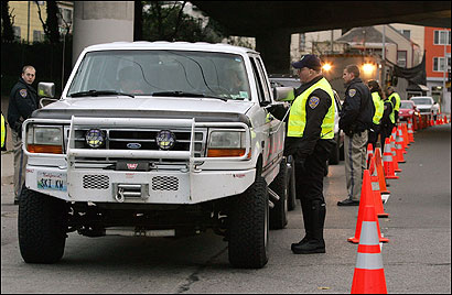 Police officers at a sobriety checkpoint in San Francisco.