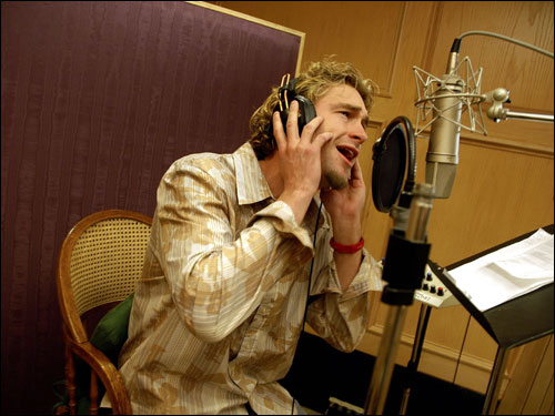 Bronson Arroyo was recording his voice in a booth during a rehearsal of the song 'The Freshman' by The Verve Pipe on Jan. 14, 2005.